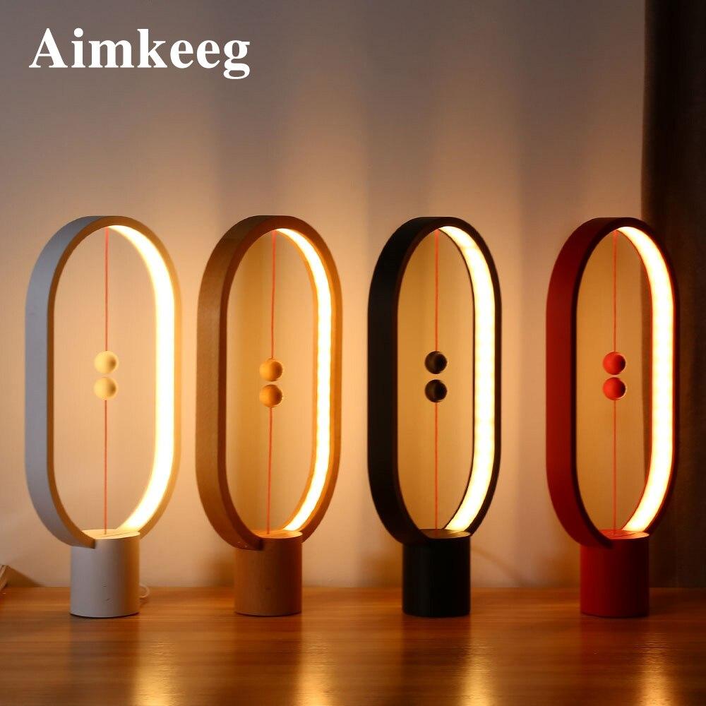 Aimkeeg Creative חכם איזון מנורת LED שולחן לילה אור USB מופעל מגנטי מתג מנורת בית תפאורה שינה משרד לילה מנורה