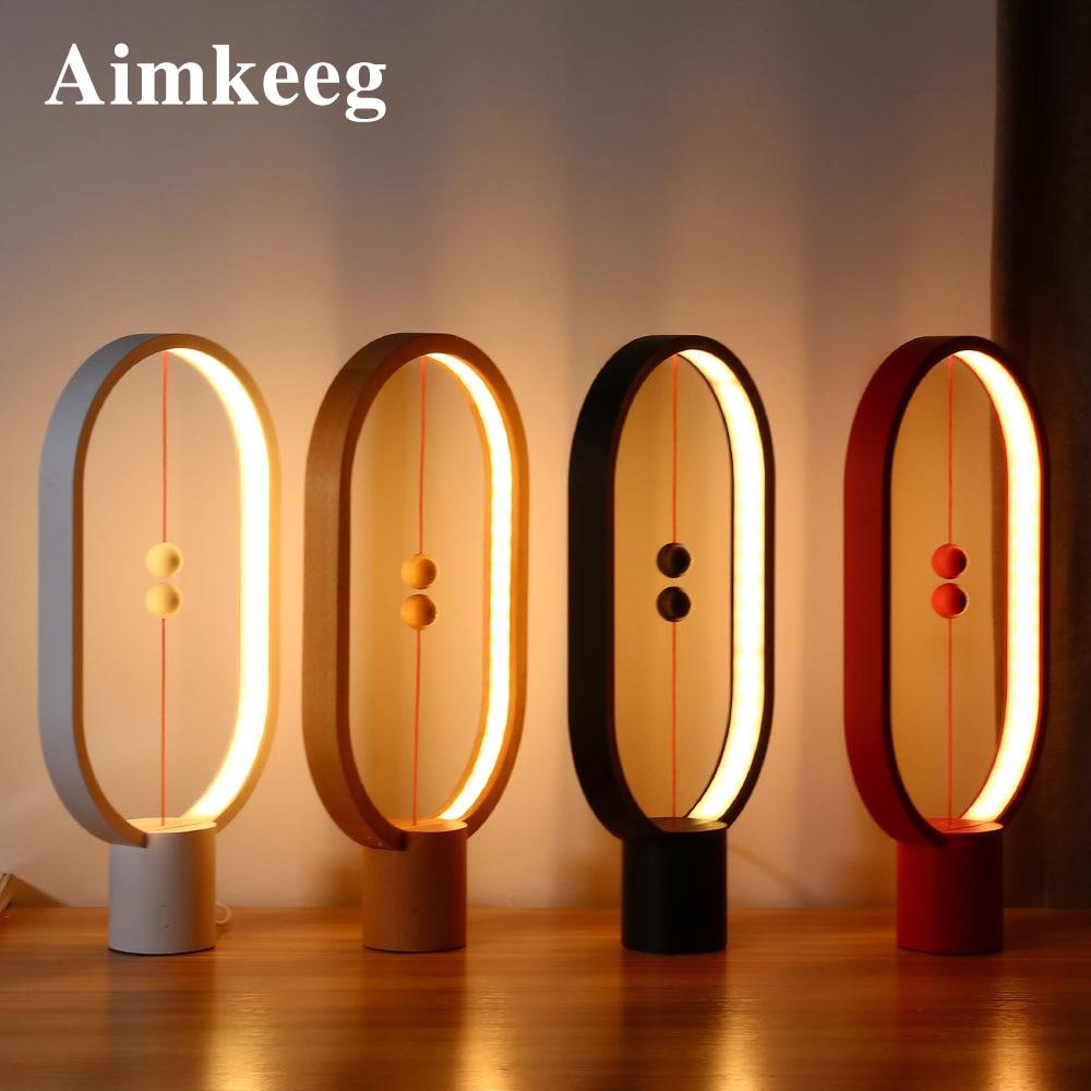Aimkeeg Creative Smart Balance lampe LED Table veilleuse USB alimenté magnétique interrupteur lampe décor à la maison chambre bureau nuit lampe