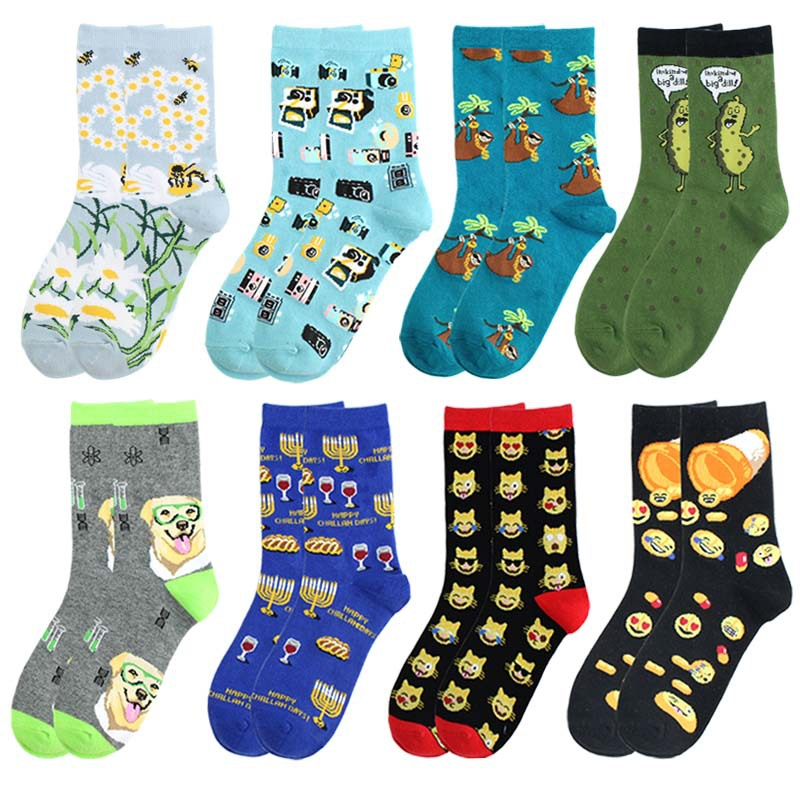 Adult Mid Calf Crew Socks Green Pea Rich Sloth Sloths Funny Pill Camera Cat Face Golden Retriever Dog Red Wine Weird Happy Sox
