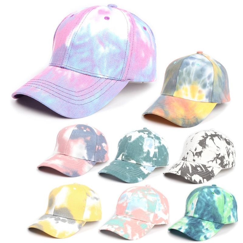 Visor Hat for Women New Tie-dye Gradient Color Baseball Cap Men and Women Korean Street Color Caps Spring and Summer Shade Hats