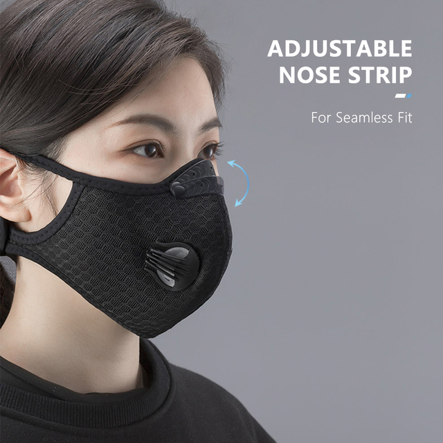 Mouth Mask PM2.5 Filter Windproof with Breathable Valve Mouth-muffle Anti-foga Dustproof Flu Reusable Cycling Face Mask 5