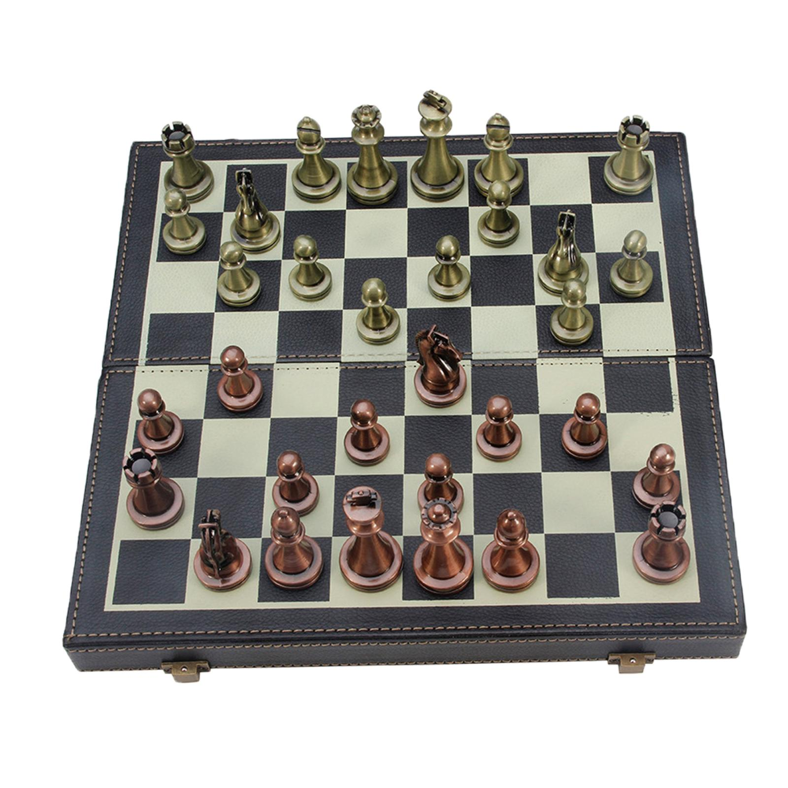 Tablero de ajedrez de Cuero Vintage plegable