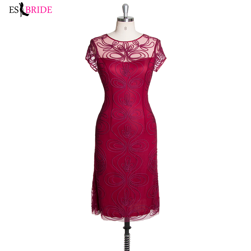 O-Neck Burgundy Lace Formal Dress 2019 Evening Party Gown Bridal Dress Short Sleeves Coctail Dresses Knee Length