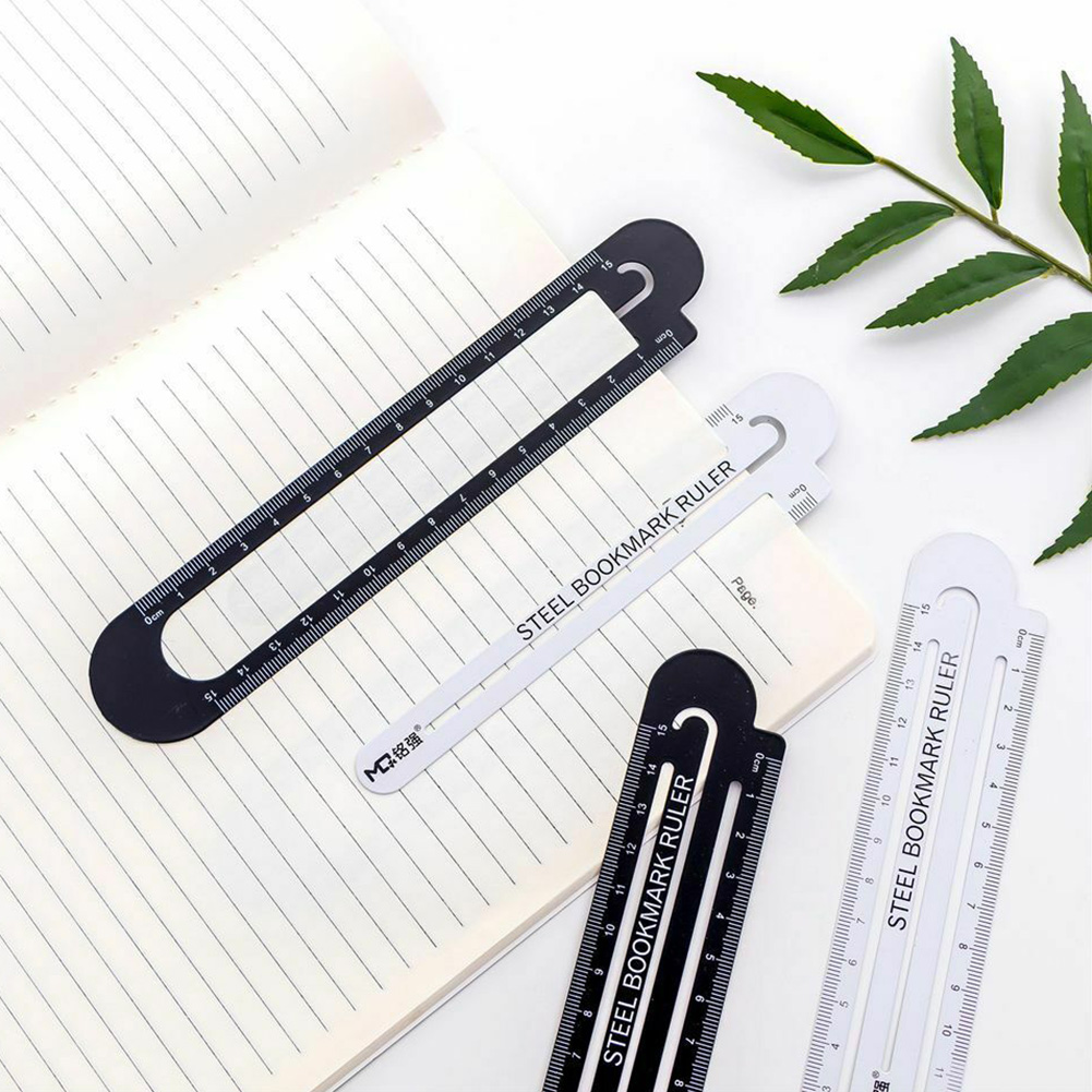 15cm Manganese Steel Mini Bookmark Tool Office Portable Student School Drawing Durable Ruler Practical Clip Design
