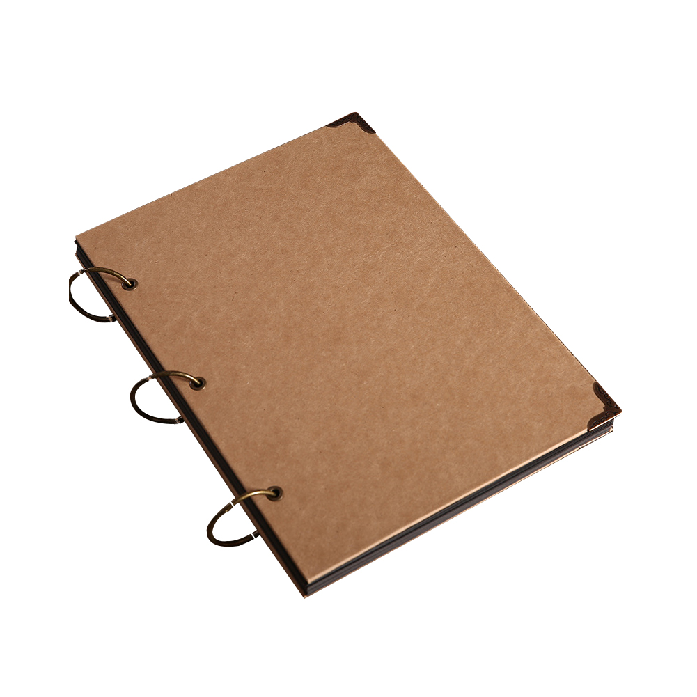 30 Pages Blank Cover Cowhide Paper Loose-Leaf DIY <font><b>Scrapbook</b></font> Travel Journal Memory Record Photo <font><b>Album</b></font> Diary Collection Graffiti image