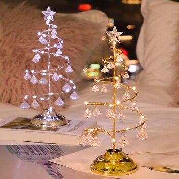 LED Christmas tree lights Crystal modeling Holiday decoration table lamp Night light