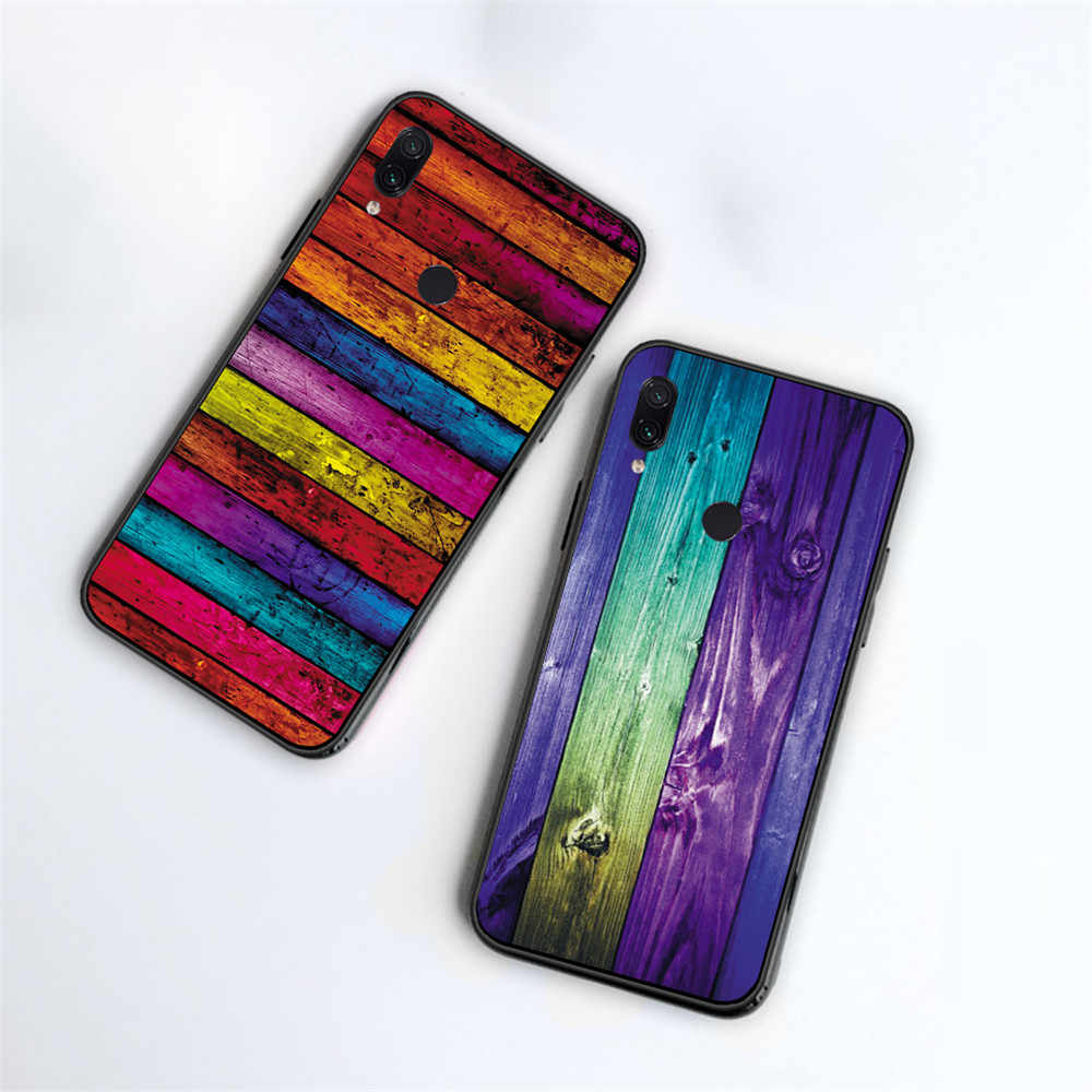 Caja colorida de la cubierta del TPU del silicón de las rayas abstractas de madera para Xiaomi Redmi 5Plus 7 6 5 4 4A 5A 6A Redmi GO S2 Note 8 7 Pro