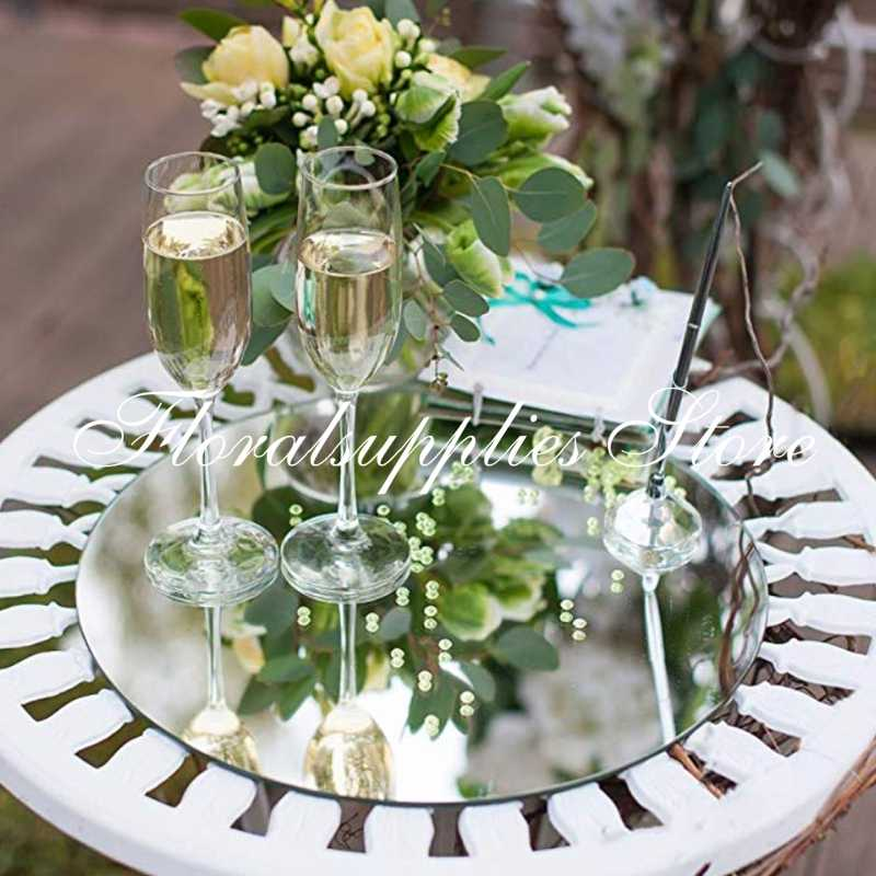 Crafts 8 inch x 8 inch Wedding Centerpieces Square Mirror Plate Wall Decor 1.5 mm Thick Perfect for Table Set of 12 Square Mirror Trays