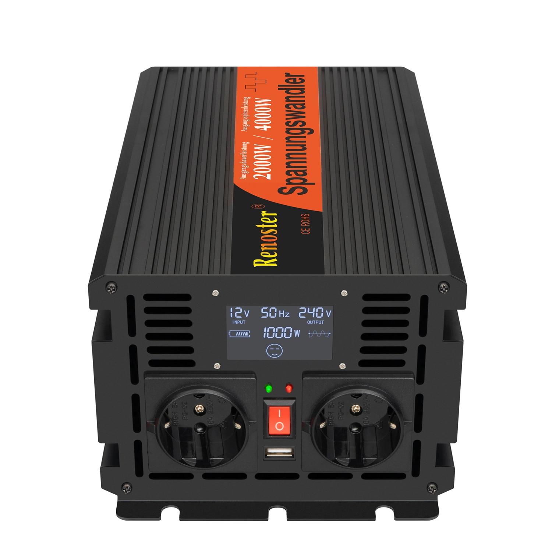 2000/4000W Draadloze Inverter Charger Converter Led Transformator Gemodificeerde Sinus Omvormer 12V Naar 220V Met control Display Auto 3