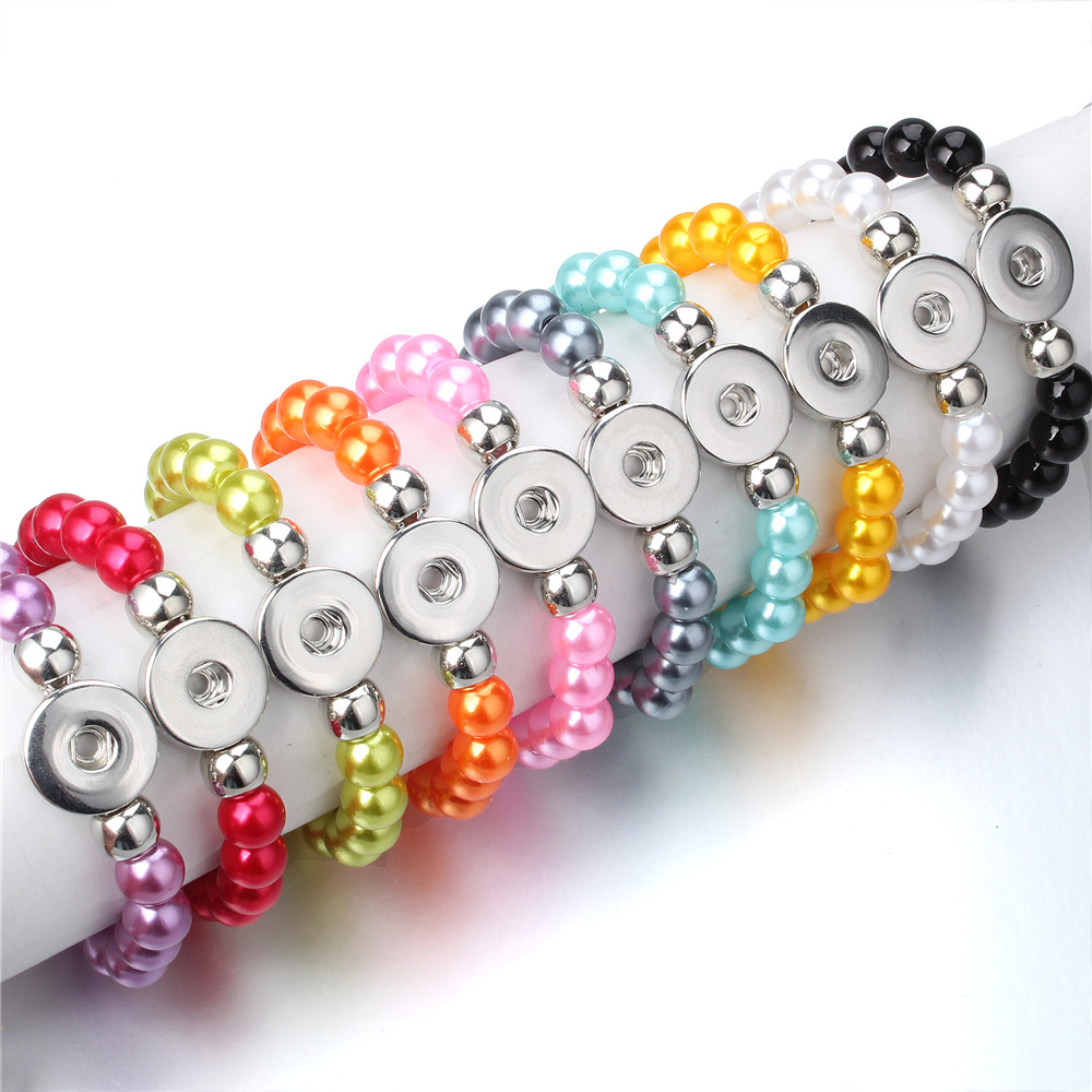 Elastic Bracelet Snap Jewelry Snap-Button Imitation-Pearl-Beads Handmade Women Gift
