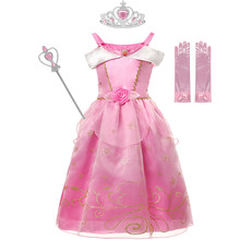 MUABABY Girls 2-8T Sleeping Beauty Cosplay Dress Summer Pink Elegant Princess Costumes Kids Gold Printing Halloween Party Suits
