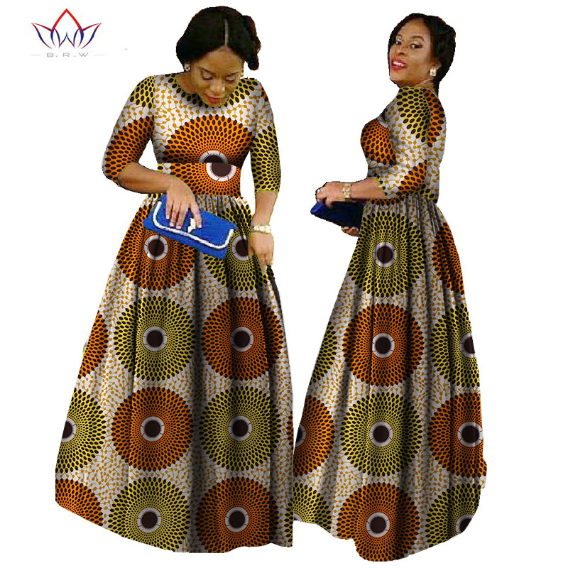 2020 African Bazin Dresses For Women African Long Sleeves Dresses For Women In African Clothing Wax Dashiki Fabric 6xl BRW WY516