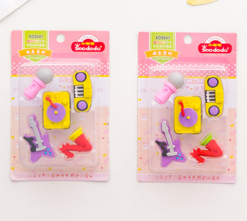 5pcs Cute Music Series Eraser Set Kawaii Rubber Erasers Primary Student Prizes Promotional Gift Stationery School Supplies