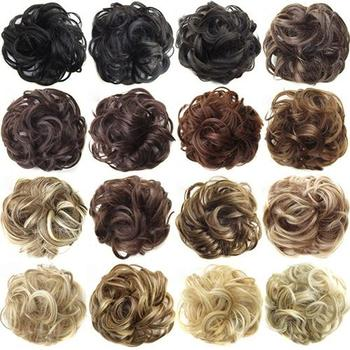 2020 New Trendy Design Women Wavy Curly Messy Hair Bun Synthetic Elastic Hair Tie Extension Hair Scrunchie Hairpieces Bands 1