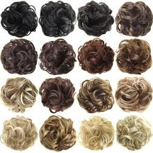 Tie-Extension Hairpieces Hair-Bun Bands Elastic-Hair Messy Curly Synthetic Trendy-Design