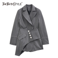 TWOTWINSTYLE England Style Asymmetrical Women Blazer Notched Long Sleeve High Waist Patchwork Crystals Suit Female Clothing Tide