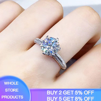 YANHUI With Certificate Top Rount Cut 2 Carat Created Moissanite Rings for Women Silver 925 Jewelry Zirconia Gemstone Ring Gift yanhui with certificate 1 carat 2 carat gemstones zirconia diamond ring 925 sterling silver jewelry wedding bands for women