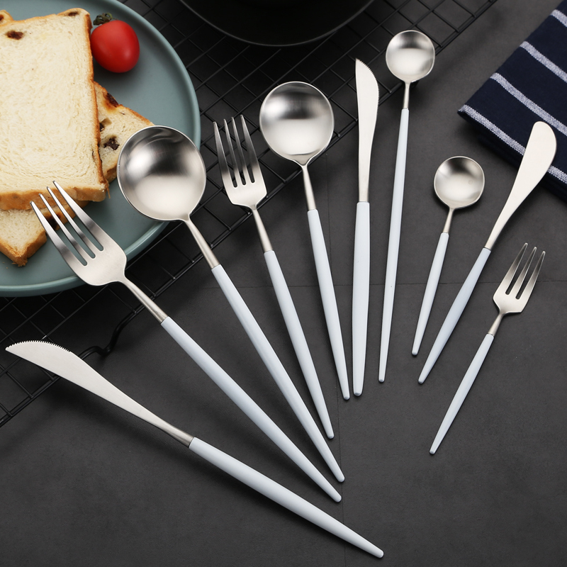 Steel Cutlery Spoon Set With Tea Forks And Butter Knives For Tableware Dinner Sets