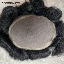 Mono NPU erkek peruk % 10% gri saç dalga düz insan saçı peruk hint Remy saç sistemi yedek erkek postiş 6 inç