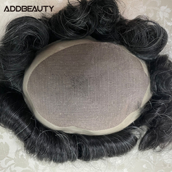 Mono NPU Men Toupee with 10% Grey Hair Wave Straight Human Hair Wigs Indian Remy Hair System Replacement Men's Hairpiece 6inches