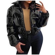 Куртка-пуховик укороченная парка пузырьковое пальто зимняя женская новая модная одежда черная красная Теплая Зимняя яркая хлопковая Свобо...