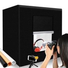 60*60*60 ซม.สตูดิโอถ่ายภาพแสงกล่องแบบพกพา Softbox เต็นท์ภาพพื้นหลังสีขาว LED Lightbox สำหรับถ่ายภาพถ่ายภาพสินค้า