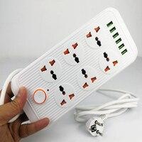 Nuova presa multipla spina ue 6 presa di ricarica USB cavo di prolunga elettrico universale per filtro di rete per ufficio domestico