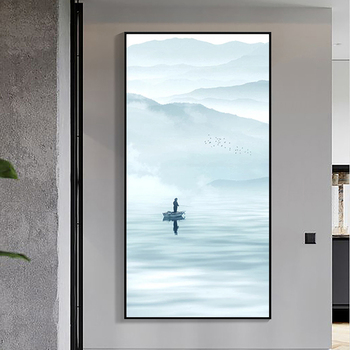 New Chinese hand-painted Oil Skiff Entrance Hallway Vertical Version Of Decorative Painting Background Wall Paintings Office Hot