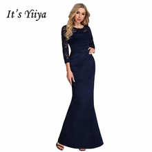Its Yiiya Evening Dress O-neck Long Sleev Women Party Dresses Lace Mermaid Robe De Soiree Plus Size Formal Gowns C546