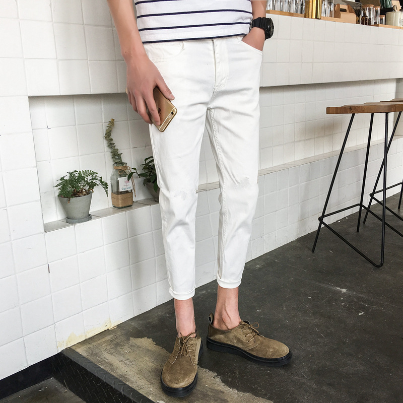 2019 Thin Jeans Men Slim Fit Skinny Pants Korean-style Trend Casual White BOY'S Pants Men's Trousers