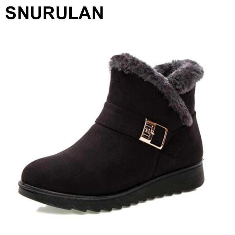 SNURULAN   2019 New Women's Warm Ankle Boots, Winter Women's Waterproof Antiskid Faux Fur Ankle Boots, Warm Fur Shoes