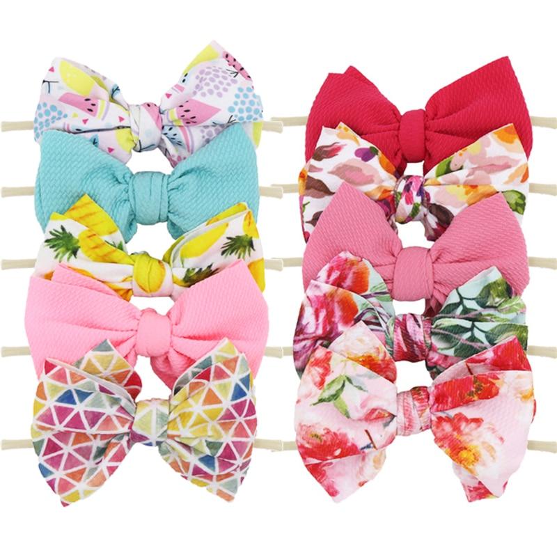 5PCS Baby Girl Headbands Newborn Hairbands 5.9'' Printing Elastic Nylon Hairbows Toddler Headband For Girl Baby Hair Accessories