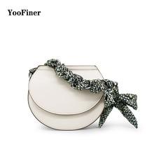 YooFiner new arrival fashion style female magnetic buckle silk scarves type tote bags ladies handbag circular shoulder