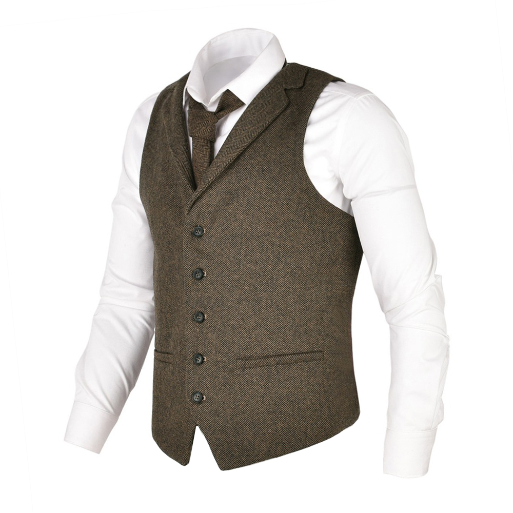 VOBOOM Men Waistcoat Herringbone Tweed Wool Blend Suit Vest Tailored Collar Dress Vests 018