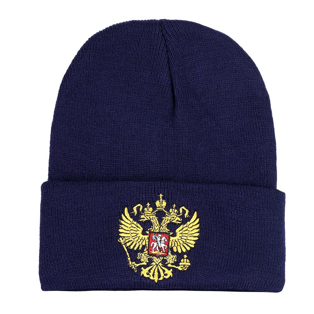 Knit Womens Winter Hats Warm Russian Double Eagle Embroidery Cotton Mens Beanies Cold Skullcap Short Caps Bonnet Girls Boy Hat