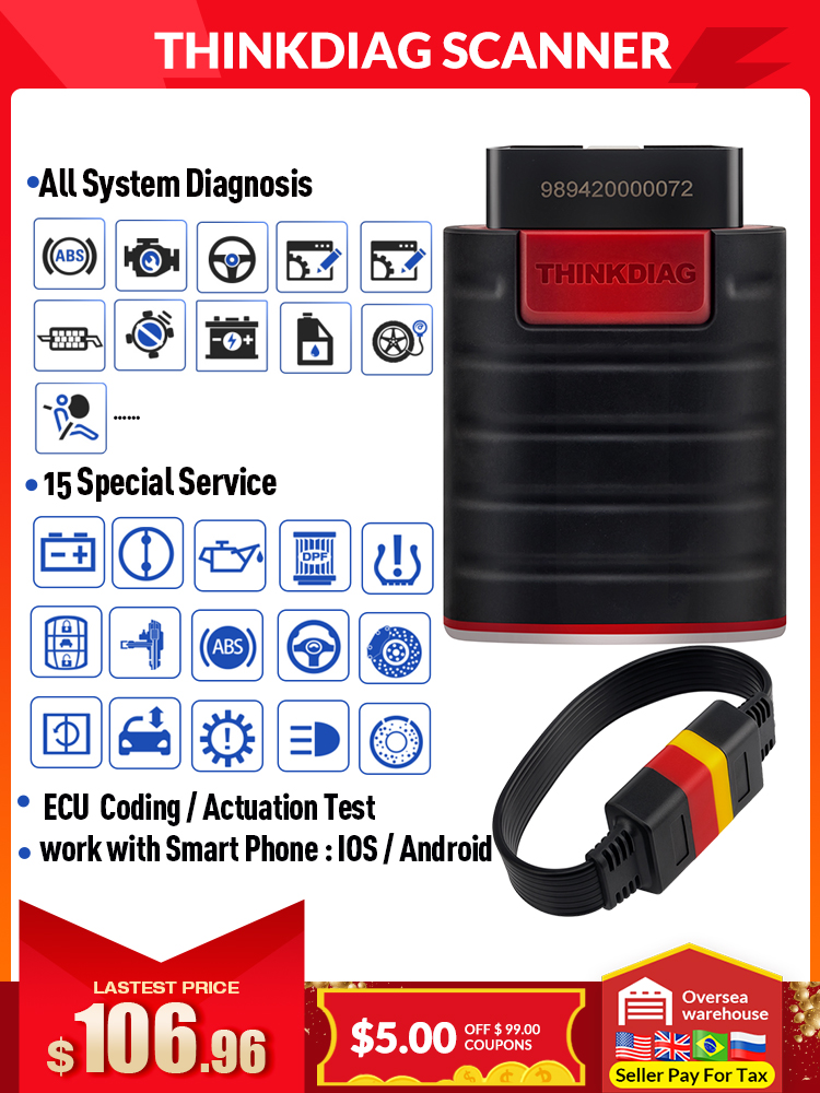 Thinkdiag Obd2 Diagnostic-Tool Code-Reader-Scanner Service IOS Easydiag Bluetooth All-System