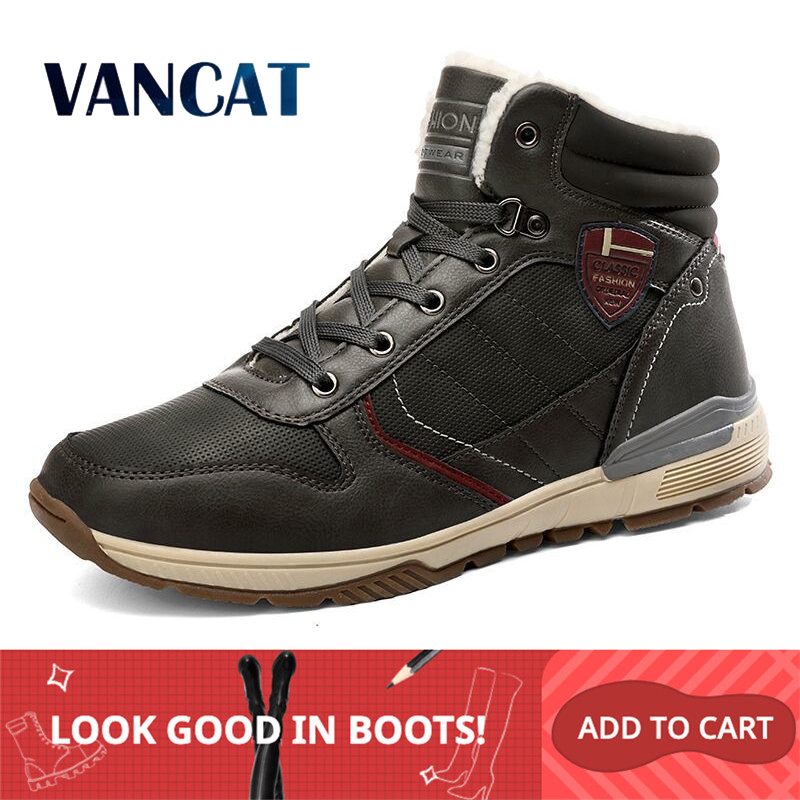 Vancat New Men's Boots High Quality Plush Keep Warm Ankle Boots Snow Boots Warm Fur Mens Shoes Winter Sneakers Boots Size 39-46