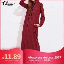 Celmia Plus Size Women Maxi Dress Autumn Hooded Dress Sweatshirt Female Long Sleeve Hoodies Winter Pullover