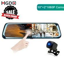 Hgdo h20 câmera de carro 10 polegadas, espelho de ré, dvr, full hd, câmera traseira 1080p gravador de vídeo lente dupla, câmera
