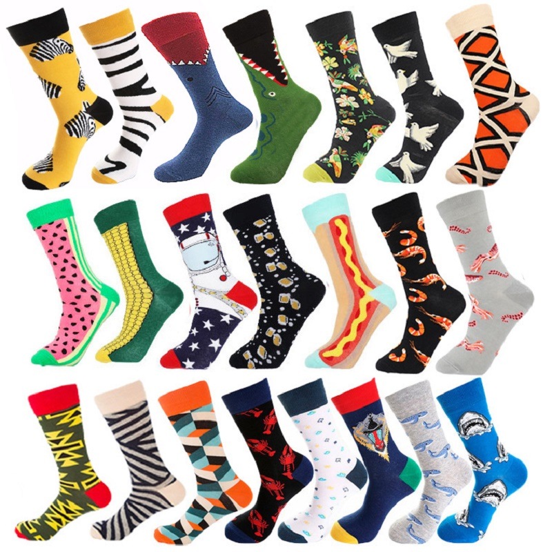 Unsex Socks Trendy Seafood Bird Corn Burger Zebra Shark Illustration All Cotton Medium Tube Socks