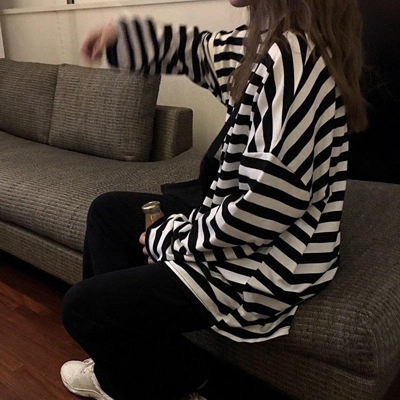 spring Autumn Women harajuku Striped Tshirt Long Sleeve O-Neck T-Shirts ulzzang Korean Casual oversized T Shirt Femme black Tops 3