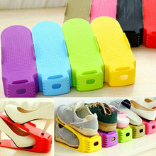 Simple Shoes Rack Solid Color Plastic Double Adjustable Layer Stereo Receive Shoes Storage Hanger Saves Pace