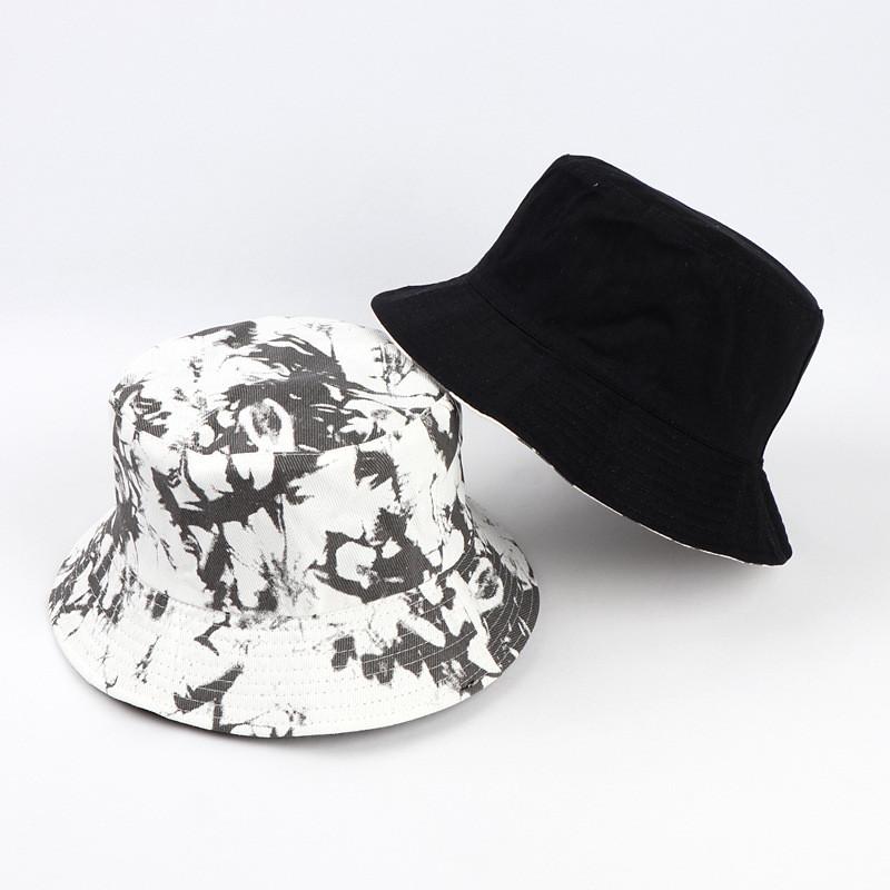 Double sided Wearing Cap Visor Rainbow Color Bucket Hat Men And Women Cotton Flat Sun Hat Reversible Sun Tie Dye Fisherman Hat