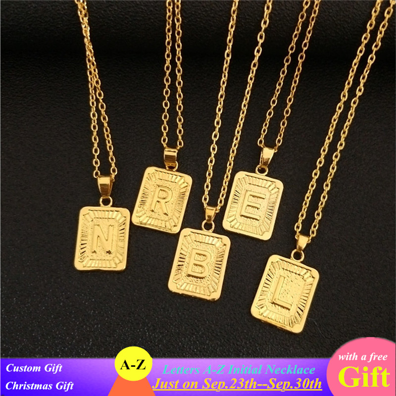 Z Pendant Chain Necklace Personalised Gold Alphabet Initial Letter Alphabet A