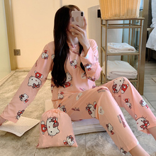 Cartoon Kitty Print Cute Pajama Sets For Women Long Sleeve+P