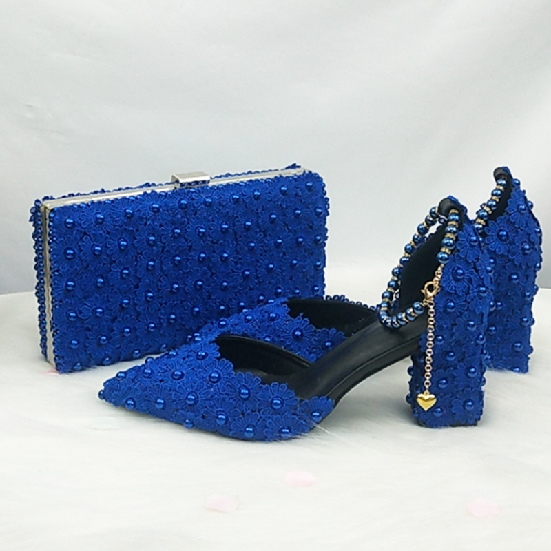 BaoYaFang Royal Blue Beads Flower Strap wedding shoes Bride Pointed Toe Square Thick High Heel Party dress shoes and bag set