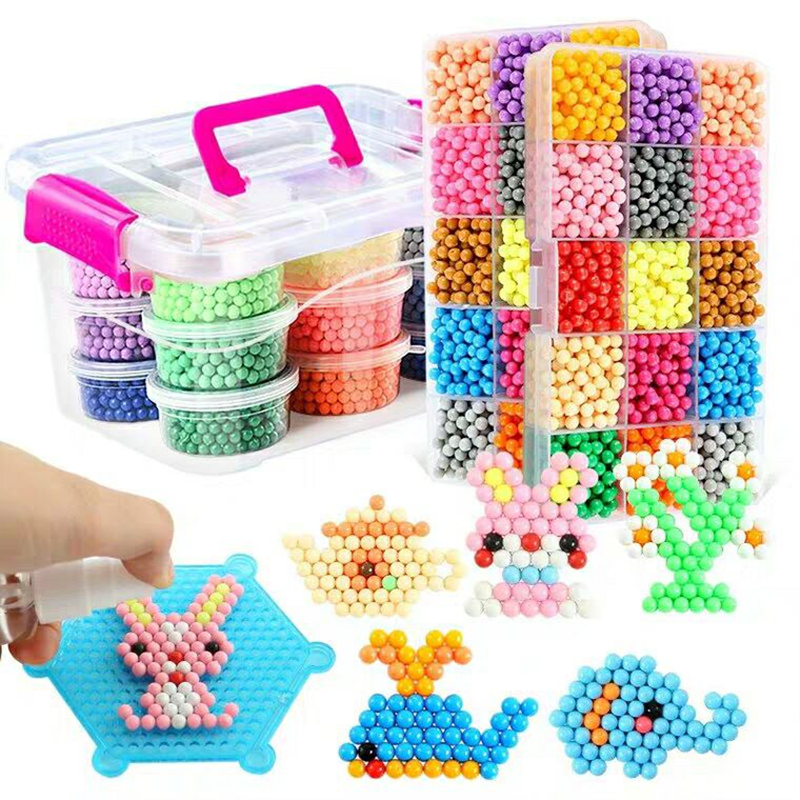 6000pcs 30 Colors Refill Beads Puzzle Crystal DIY Water Spray Beads Set Ball Games 3D Handmade Magic Splice Toys For Children