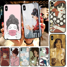 OFFeier Coffee girl Customer High Quality Phone Case For iphone6 6s plus 7 8 7 8 plus X XR XS MAX 11 Pro Max Cover lovebay geometri customer high quality phone case for iphone 6 6s plus 7 8 plus x xs xr xs max 11 11 pro 11 pro max cover