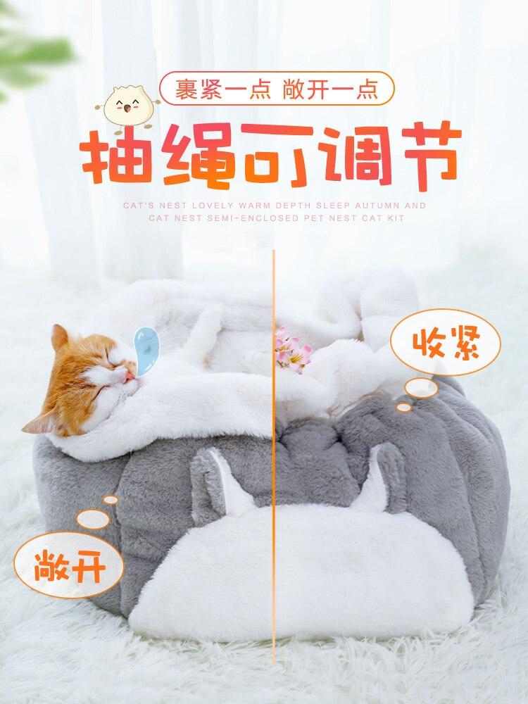 Ronde Huisdier Bed Kat Hond Winter Warm Slapen Huis Pluizige Kussen Kat Bed Mat Slaapzak Casa Para Gato Huisdier producten JJ60MW - 4