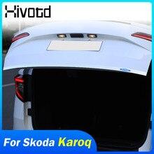 עבור סקודה Karoq 2018 2020 חיצוני אביזרי קישוט אחורי דלת דלת תא המטען כרום Trims מסגרת כיסוי פגוש דפוס
